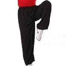 Мужские и женские брюки Tai Chi, хлопковые черные спортивные штаны для занятий боевым искусством, тхэквондо каратэ, дзюдо, китайские брюки для кунг-фу на 95-185 см