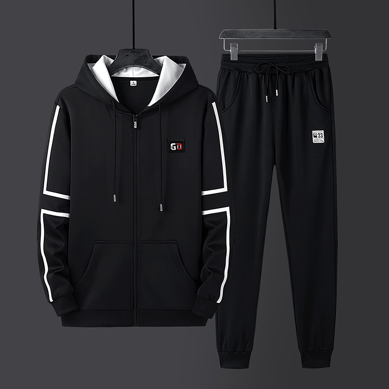 Coat Men'S Wear Spring And Autumn New Style Trend Teenager Set Students Casual Fashion Pullover Hoody Two-Piece Set