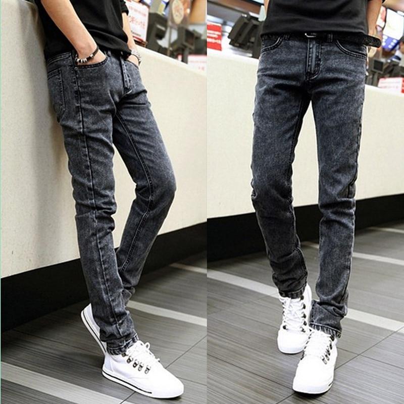 Spring Black Gray Jeans Men Skinny Pants Korean-style Slim Women's Long Pants Casual Fashion