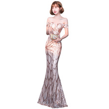 Evening Dress off the shoulder Sequin Women Party Dresses short sleeve Robe De Soiree boat neck Formal Evening Gowns 2019 F083 short sleeve off shoulder blouses for kids tulle polyester sequin party dresses