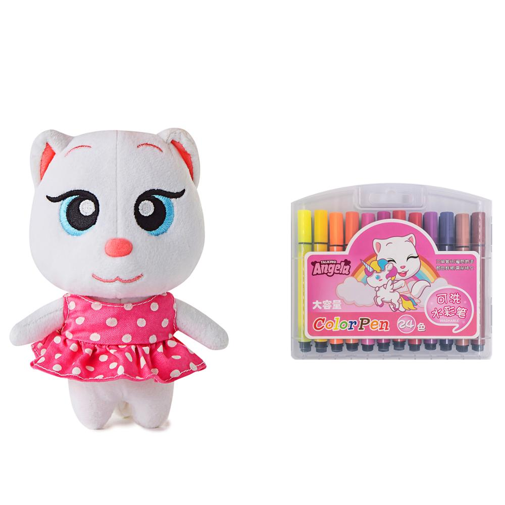 Plush Angela Cat Doll + Magic Cube 3×3×3 Stuffed Soft Sounding Animal Christmas Birthday Gift For Kids