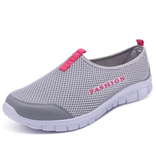Lazy Light Weight Sneakers Women Running Shoes Men Breathable Mesh Slip On Sock Woman Sports Couple Sport