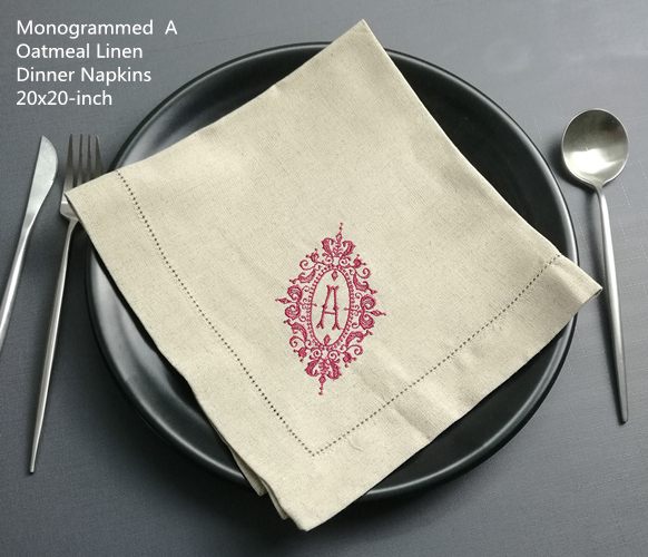 Ste Of 12 Fashion Monogrammed Napkins Oatmeal Linen Thick Dinner Napkins Table Napkin With Embroidery Color Initial 20x 20- Inch