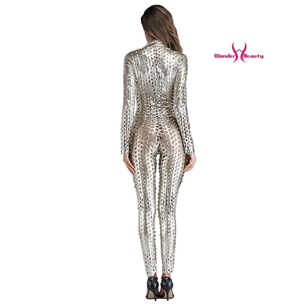 wetlook catsuit pu faux leather jumpsuit zentai costume women zipper front hollow out hole pole dance nightclub vinyl bodysuit (22)
