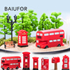 BAIUFOR Vintage Red Mailbox Telephone Booth Bus Figurines & Miniatures Sand Table of Building Model Child kids Toys 1