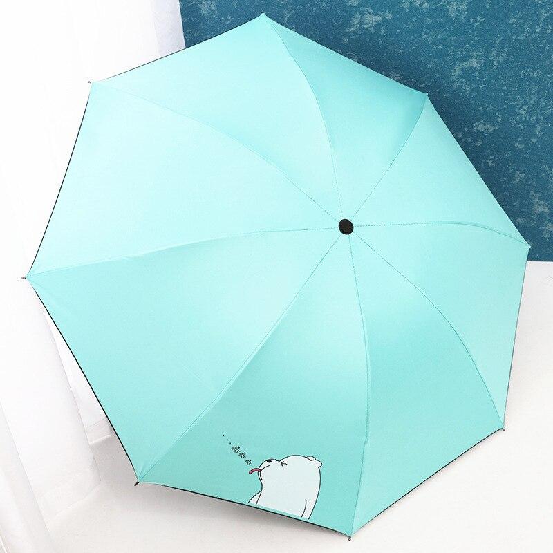 Sun-resistant Vinyl Parasol Eye Rain Parasol UV-Protection Pencil Umbrella Creative Three Fold Pocket Folding Umbrella