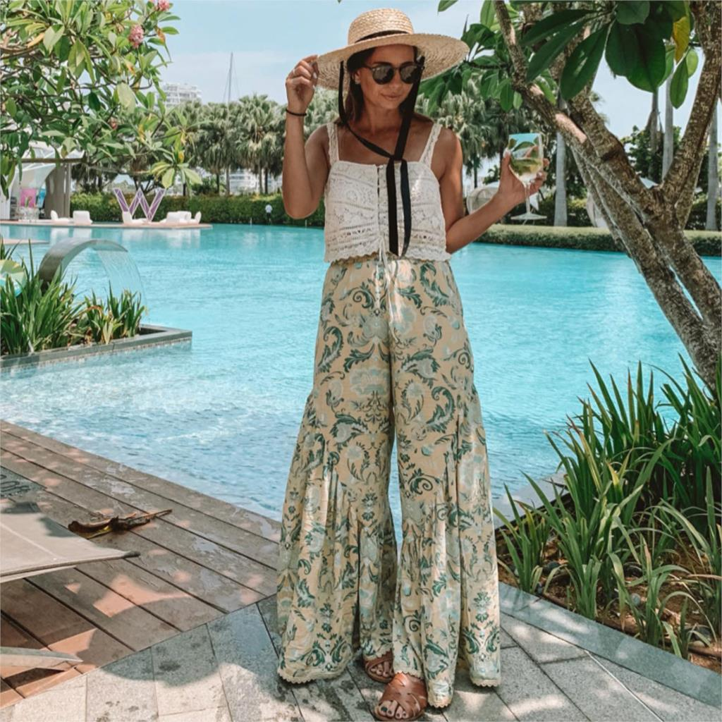 Jastie Loose Casual   Wide     Leg     Pants   Vintage Chic Print Boho Beach Long   Pant   Ruffle Flare Trousers Women   Pants   pantalones mujer