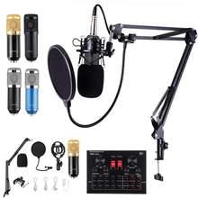 BM800 Pro Microphone Mixer Audio dj MIC Stand Condenser USB Karaoke KTV Professional Recording bluetooth With V8X SoundCard