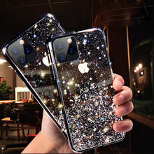 Bling Glitter Telefon Fall Für iPhone 11 Pro X XS Max XR SE 2020 Weiche Silicon Abdeckung Für iPhone 7 8 6 6S Plus Transparent Fall Capa(China)