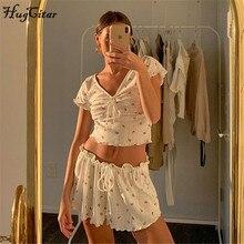 Hugcitar 2020 short sleeve floral ruffles bandage sexy crop tops shorts 2 pieces