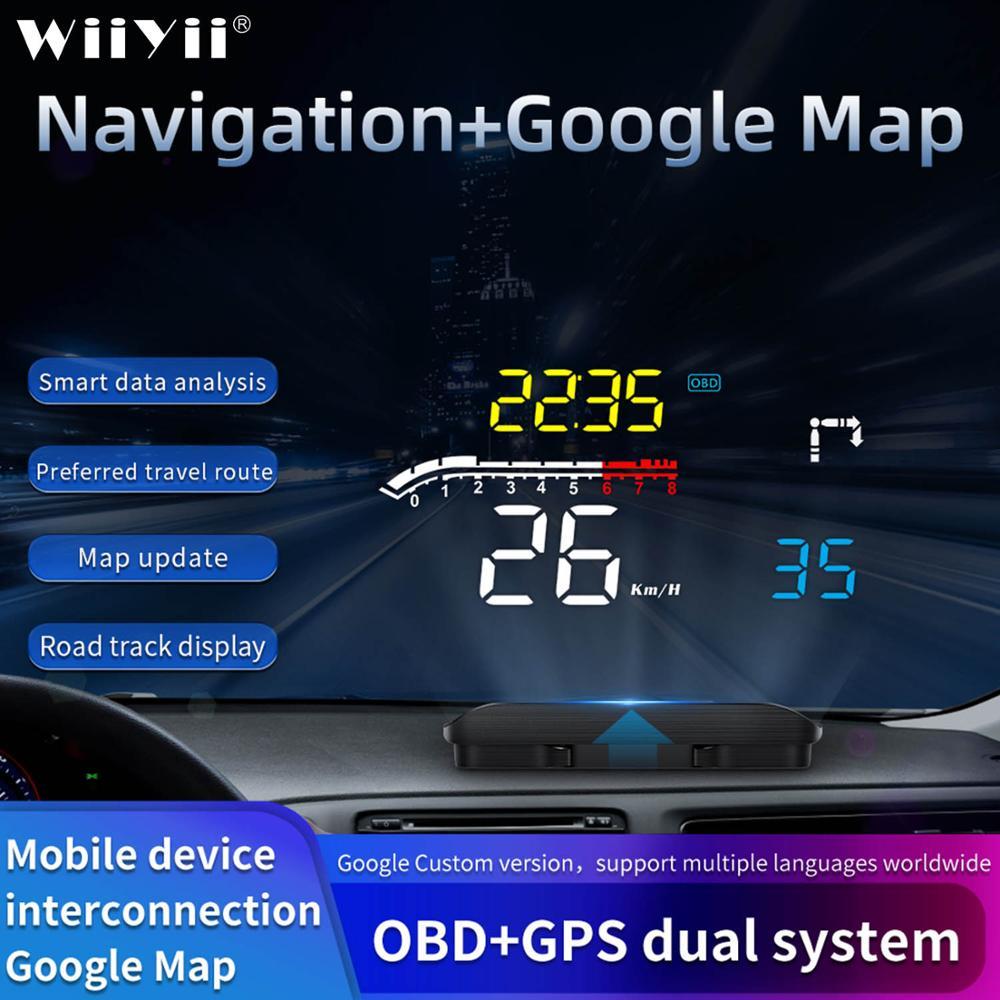 Автомобильный проектор на лобовое стекло GEYIREN D1, проектор на лобовое стекло OBD2 II EUOBD Предупреждение предупреждения о превышении скорости, ав...