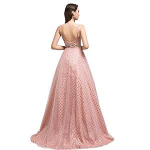 Image 2 - New Dubai Ball Gown Celebrity Dress Long 2021 Arabic Women V neck Sleeveless Evening Party Red Carpet Gown Robe De Soiree L5508
