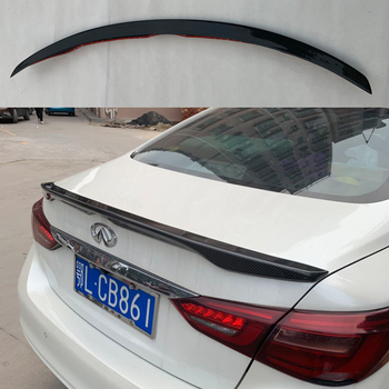 Black Car Real Carbon Fiber Trunk Spoiler Wing Rear Spoiler Wing OE Style for INFINITI Q50 Q50S 2014-2017 real carbon fiber highkick car trunk rear racing spoiler wing lid for 3 series e92 coupe 2006 2013 forged carbon spoilers