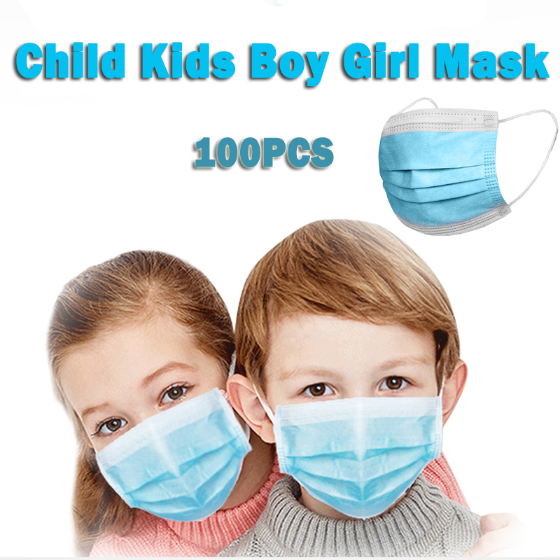 100pcs Dustproof Anti-fog And Breathable Child Face Masks 95% Filtration Children's Masks Features Disposable Mask