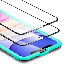 Full-Coverage Tempered-Glass Compatible for iPhone 11 2019 Screen Protector [2-Pack] [Easy Installation Frame] 3D Curved Edges