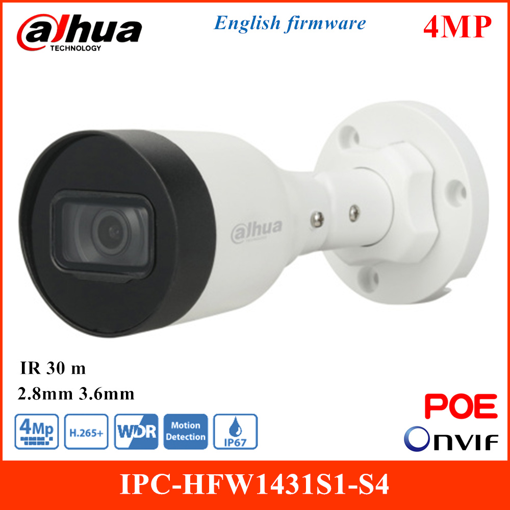 <font><b>Dahua</b></font> <font><b>4MP</b></font> WDR Eyeball <font><b>IP</b></font> <font><b>Camera</b></font> IPC-HFW1431S1-S4 Smart H.264 H.265 Built-in IR LED 2.8mm 3.6mm Fixed Lens Waterproof POE <font><b>Camera</b></font> image