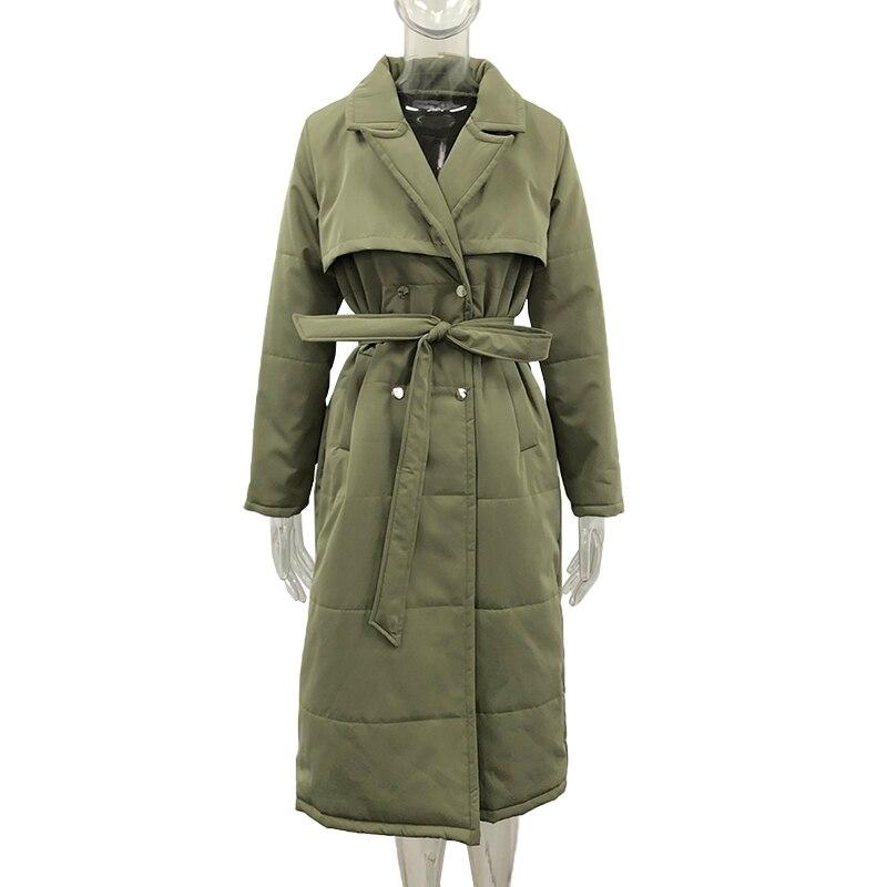 Малина модных длинных однотонных отложной воротник парки женское элегантное двубортное пальто для женщин в виде галстука-бабочки хлопковы...