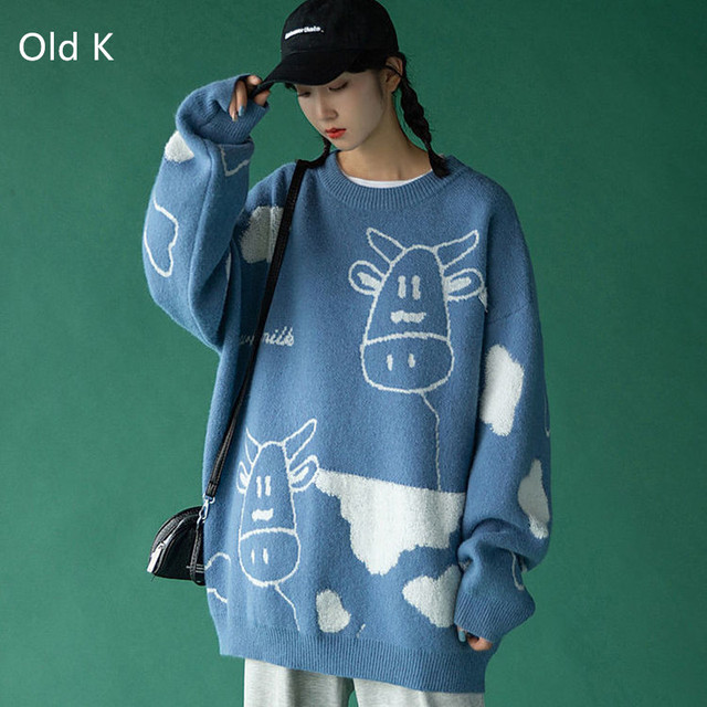 Sweater pullover autumn and winter new sweet pullover sweater female student Korean version loose wild sweater coat trend 2021 3