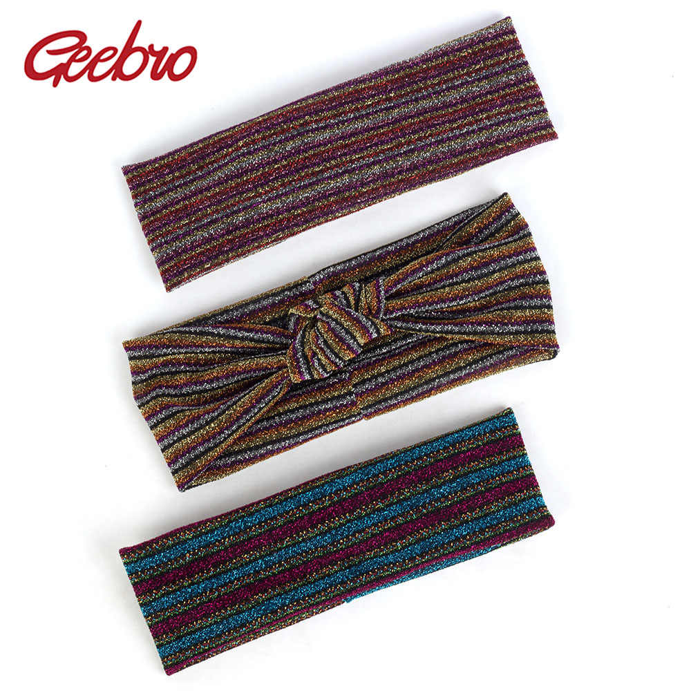 Geebro Fashion shiny Bow Knotted Elastic Headband Striped Retro Bohemia Hairband For Female Summer Accessories Headwear AQ018