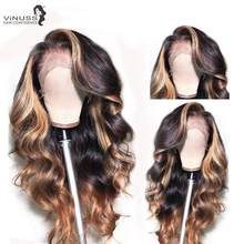 Vinuss T1B/27 Human Hair Wig Body Wave 13x6 Lace Front Wigs Pre Plucked With Baby Hair For Black Women