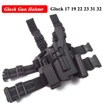 Tactical LV3 Glock Leg Holster With Flashlight Fit For Glock 17 19 22 23 31 32 Glock Gun Military Hungting Holster unbrand glock 17 18 19 23 32 36 tactical holster