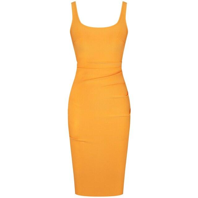 New Kendall Jenner Celebrity Bandage Dress Women Draped Orange Midi Bandage Dress Bodycon Sexy Evening Party Dress 3