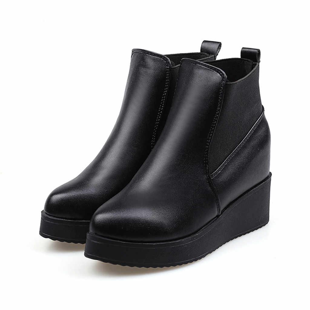 Kadın yarım çizmeler elastik bant deri çizme yüksek topuk takozlar kış bayan klasik siyah kısa çizmeler sıcak kürk Botas Retro ayakkabı