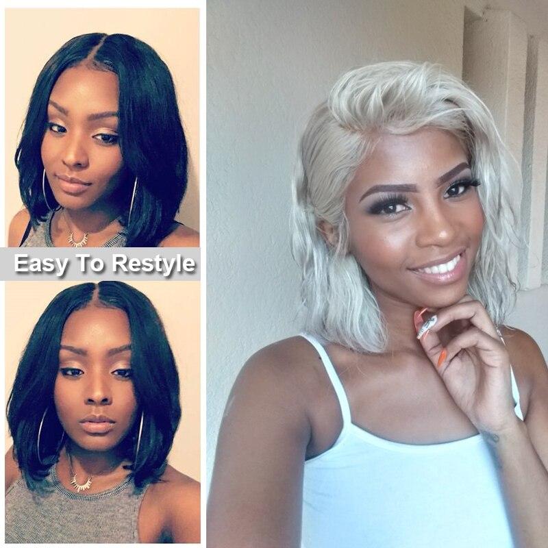 Ali Queen 13x4/13x6 Lace Front perruques 10A 150%/180%/200% densité brésilienne droite Remy cheveux naturel noir court Bob perruques - 3