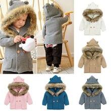 Зимние теплые для детей от 0 до 24 месяцев, вязаное пальто с капюшоном для маленьких мальчиков и девочек, куртка с меховым воротником, одежда