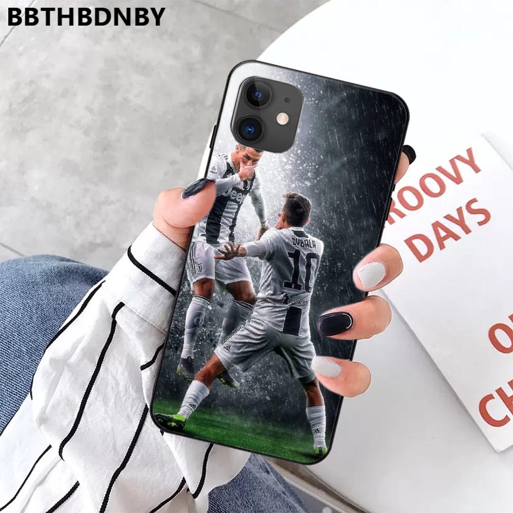 Ronaldo Sepak Bola Superstar Lionel Messi TPU Hitam Ponsel Case Penutup Hull untuk Iphone 11 Pro Max X Xs Xr 7 8 Plus 6 6S 5 5S 5se