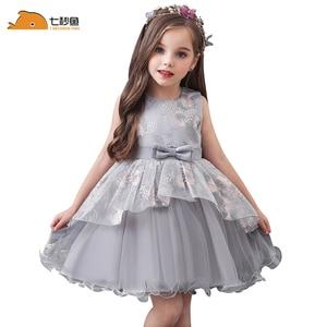Image 2 - baby summer dress Girls embroidered dress enfant birthday Princess Dress bow floral childrens Puff dresses 1 5y girl vestidos