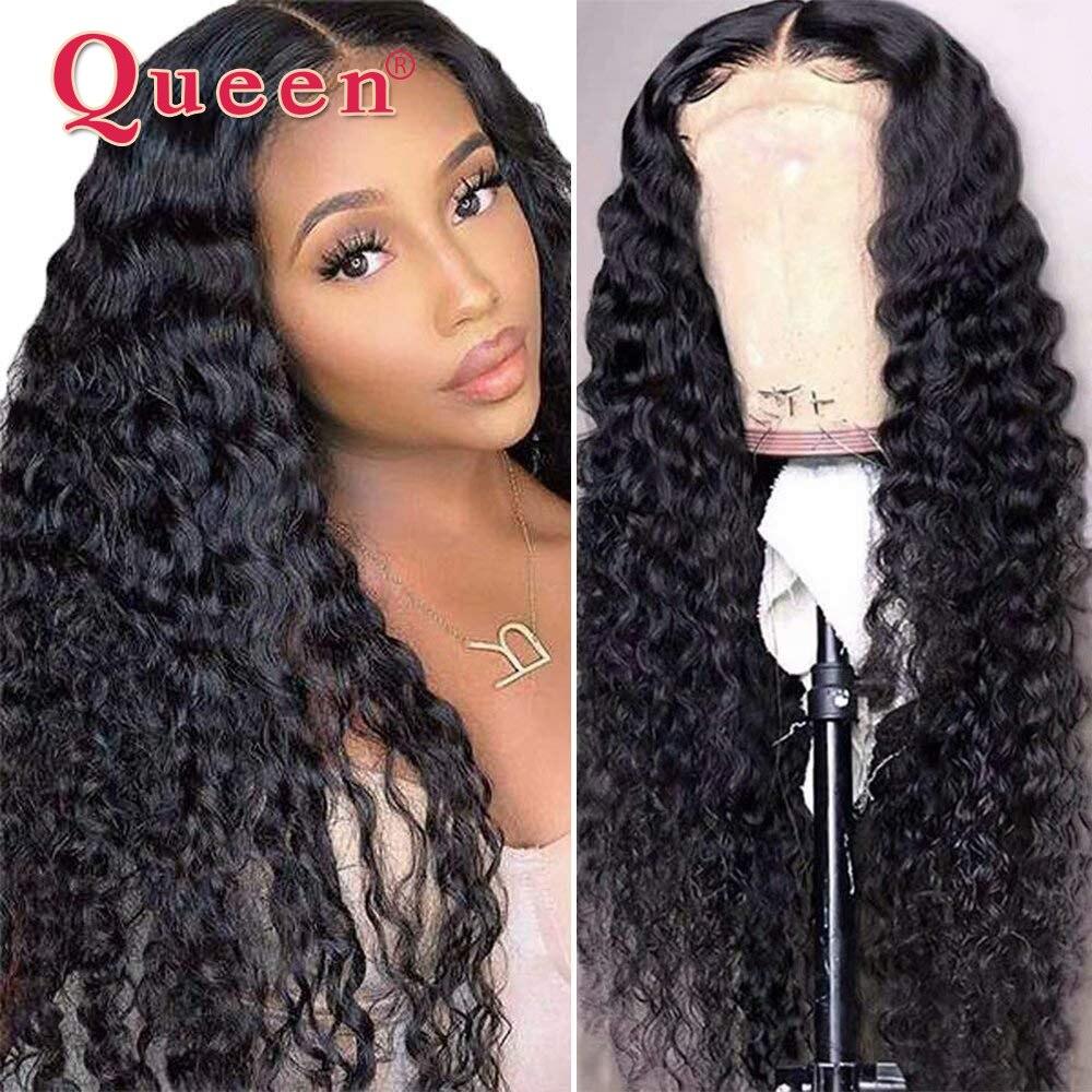 Cabelo da rainha onda profunda 4x4 fechamento do laço peruca perucas de cabelo humano brasileiro remy cabelo frente do laço perucas de cabelo humano para a mulher 150% densidade
