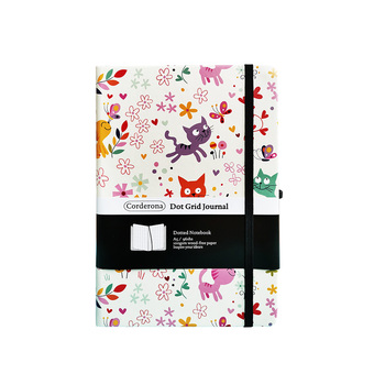 цена на Bullet Dotted Journal Dot Grid Notebook A5 Hard Cover Elastic Band Travel Diary  Bujo Planner Cats