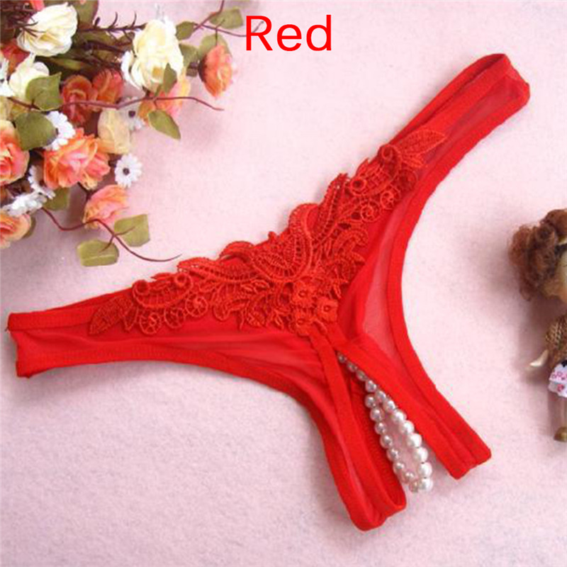 Women Underwear G String Sexy Temptation Panties Low Rise Woman Panties Open Lace Crotch Thong Pearl Massage Cute Embroidery