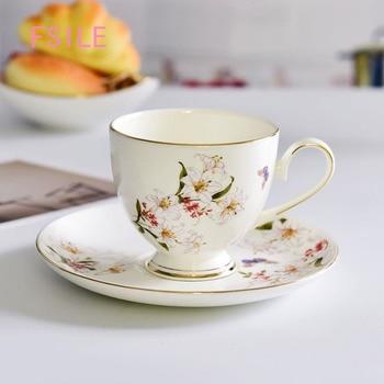 FSILE European-style Ceramic Beautiful Coffee Cup Saucer Spoon Office Gift Afternoon Tea Cup Saucer Bone Porcelain Coffee Mug фото
