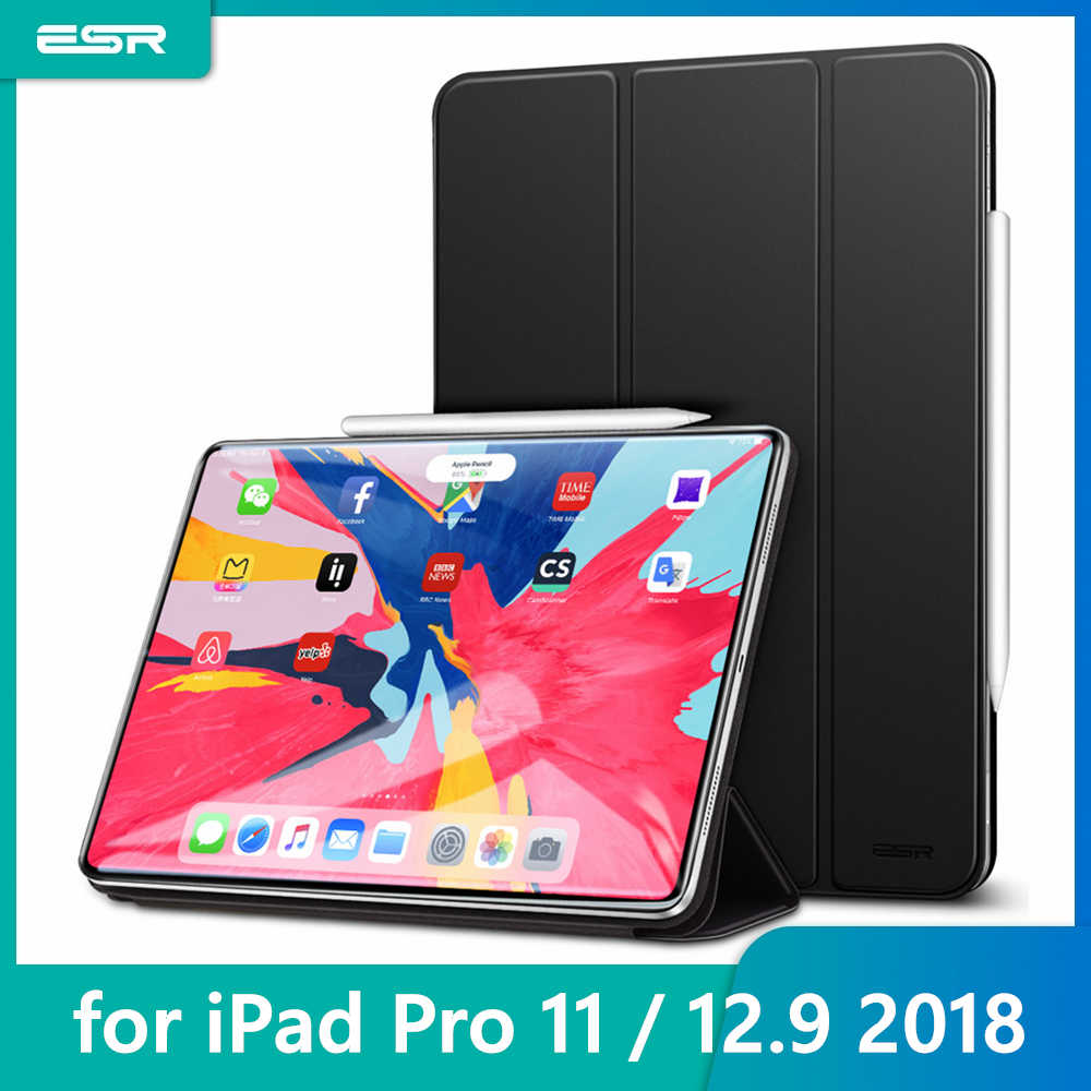 ESR Magnetic Smart Case for iPad Pro 11 2018 Cover Trifold Stand Magnet Case Attachment Rubberized Cover for iPad Pro 12.9 Pro11