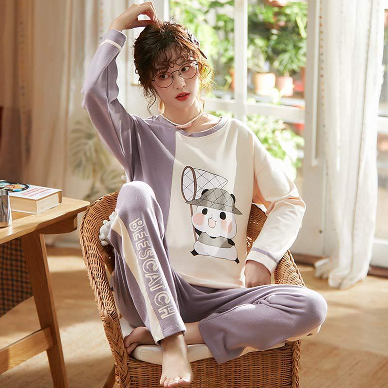 X3939 # Bear Fishing Net Pullover LZ Long Sleeve Korean-style Sweet Pajamas Tracksuit Piece Series