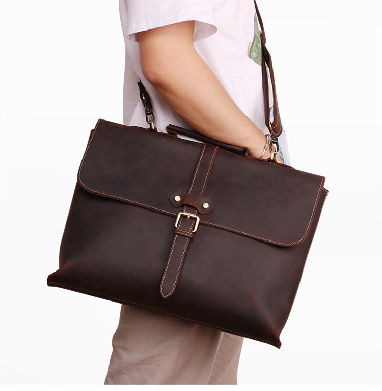 Business Leather Men's Briefcase Men Handbags 15.6 Inch Laptop Bag Male Shoulder Computer Bag Crazy Horse Leather Travel Bags