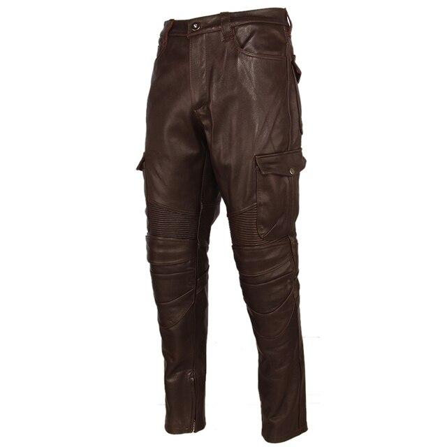 Motorcycle Leather Trousers Men Leather Pant Thick 100% Cowhide Vintage Grey Brown Black Men's Moto Biker Pants Winter 4XL M216 3