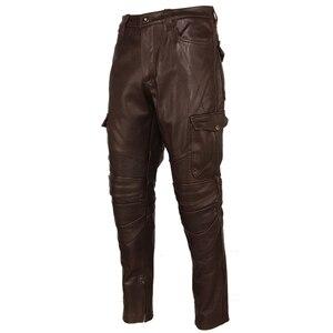 Image 3 - Motosiklet deri pantolon erkek deri pantolon kalın 100% inek derisi Vintage gri kahverengi siyah erkek Moto Biker pantolon kış 4XL m216