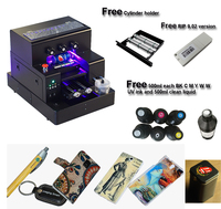 Automatic A4 size UV printer include cylinder holder for bottle printing Phone case PVC card ball pen UV printer