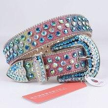 Colorful Belts Western Cowboy Bling Crystal Studded Belt Leather Strap Men Luxury Women Punk Rhinestone Cowgirl Belt For Jeans