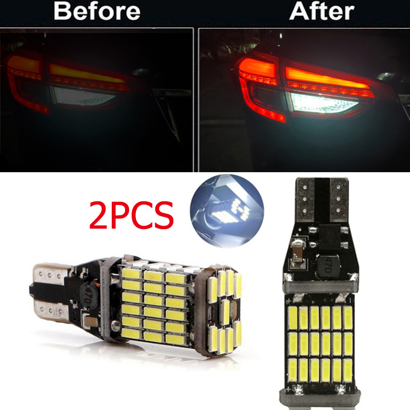 2 шт., Автомобильные светодиодные лампы 12 В постоянного тока, T15 W16W 45 SMD 4014