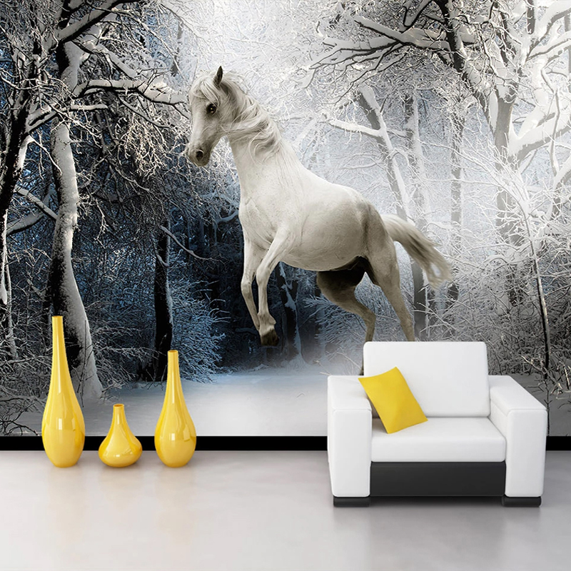 Custom 3D Photo Wallpaper Snow Scenery White Horse Art Wall Painting Study Bedroom Living Room Wall Decor Mural Papel De Parede