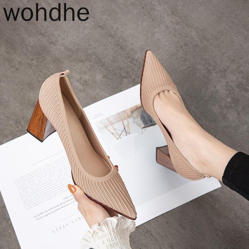 Zapatos de tacón 2020 de primavera, zapatos de tacón alto con punta en pico para mujer, zapatos de trabajo de malla elástica Vintage, elegantes zapatos poco profundos para fiesta ZUECO ARMONIAS TACÓN TRACK