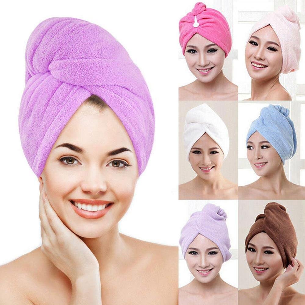 1PC Microfiber Hair Fast Drying Dryer Towel Bath Wrap Hat Quick Cap Turban Dry Quick
