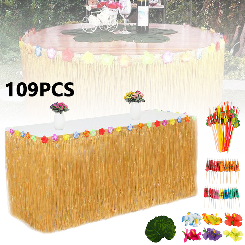 109pcs Table Skirt Artificial Flower Set Tropical Hawaiian Flower Necklaces Floral Suit Farmhouse Decor Christmas Wreath image