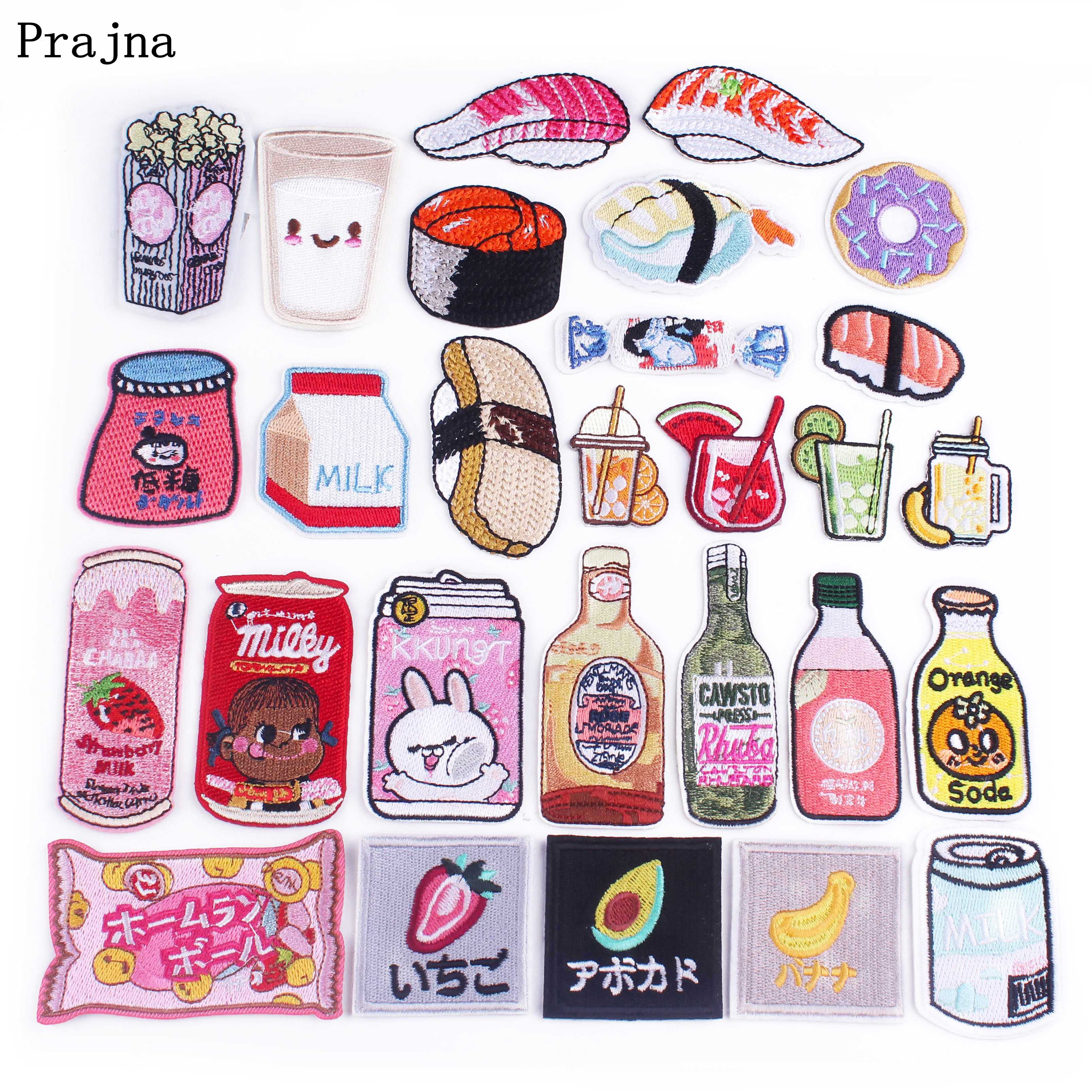 Prajna Cartoon Patch Sushi Drink Iron On Patches For Clothing Embroidery Stripe On Clothes Diy Cute Applique Badge High Quality Patches Aliexpress