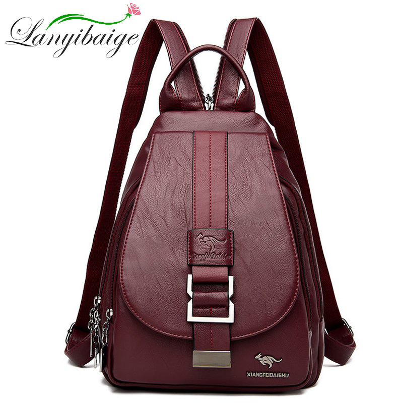 Luxury 3 In 1 Ladies Leather Backpack Fashion Women Travel Backpack Mochilas Mujer School Backpacks For Girls Anti Theft Bookbag