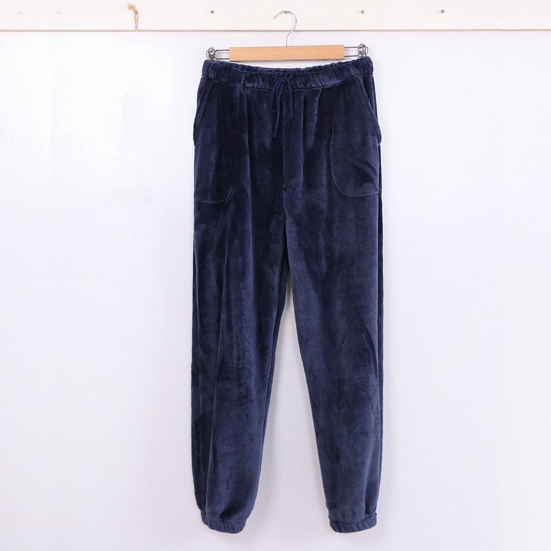 Flannel Sleepwear Men Winter Thick Lace Up Trousers Plus Size Blue Thermal Underwear Sleep Bottoms Coral Fleece Warm Lounge Wear